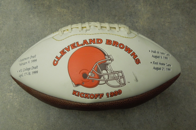 A somewhat deflated Cleveland Browns football celebrating their return to the NFL